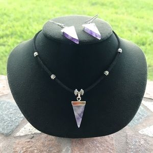 Amethyst triangle set choker necklace + earrings